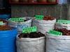 Variétés de piments au marché de Oaxaca.